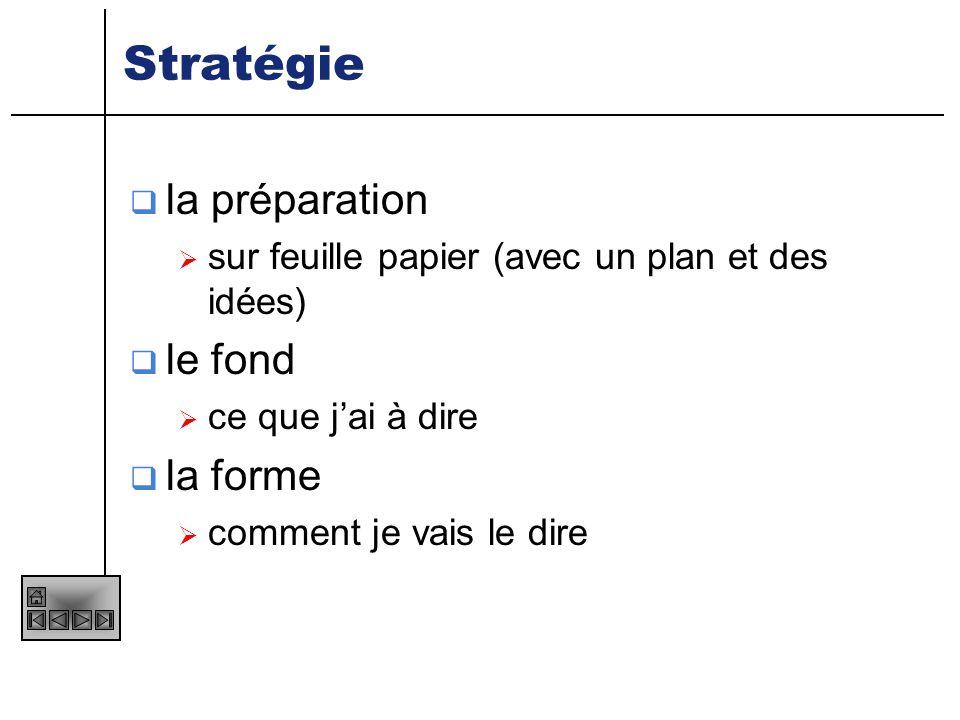 Stratégie la préparation le fond la forme