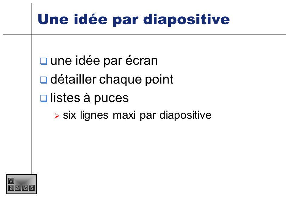 Une idée par diapositive
