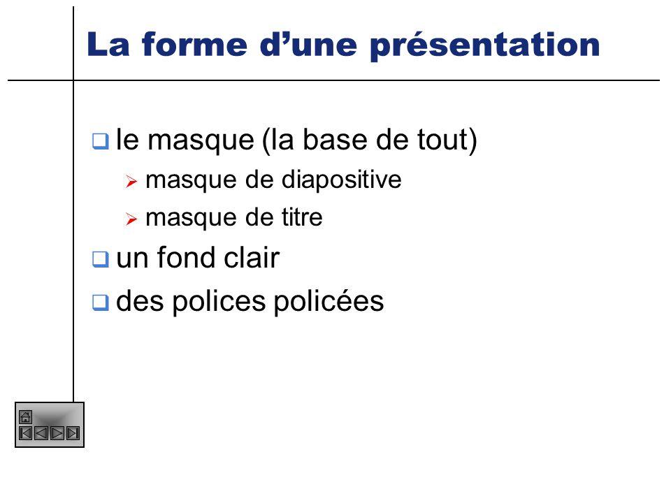 La forme d'une présentation