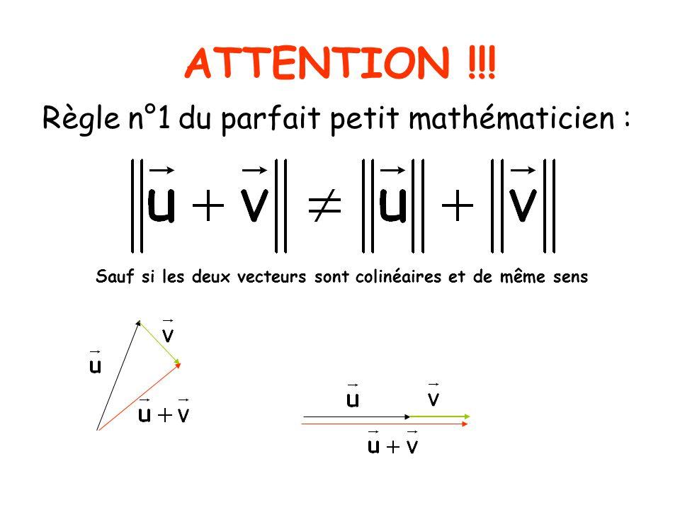 ATTENTION !!! Règle n°1 du parfait petit mathématicien :