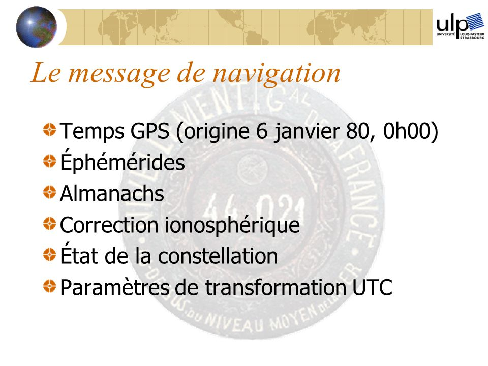 Le message de navigation