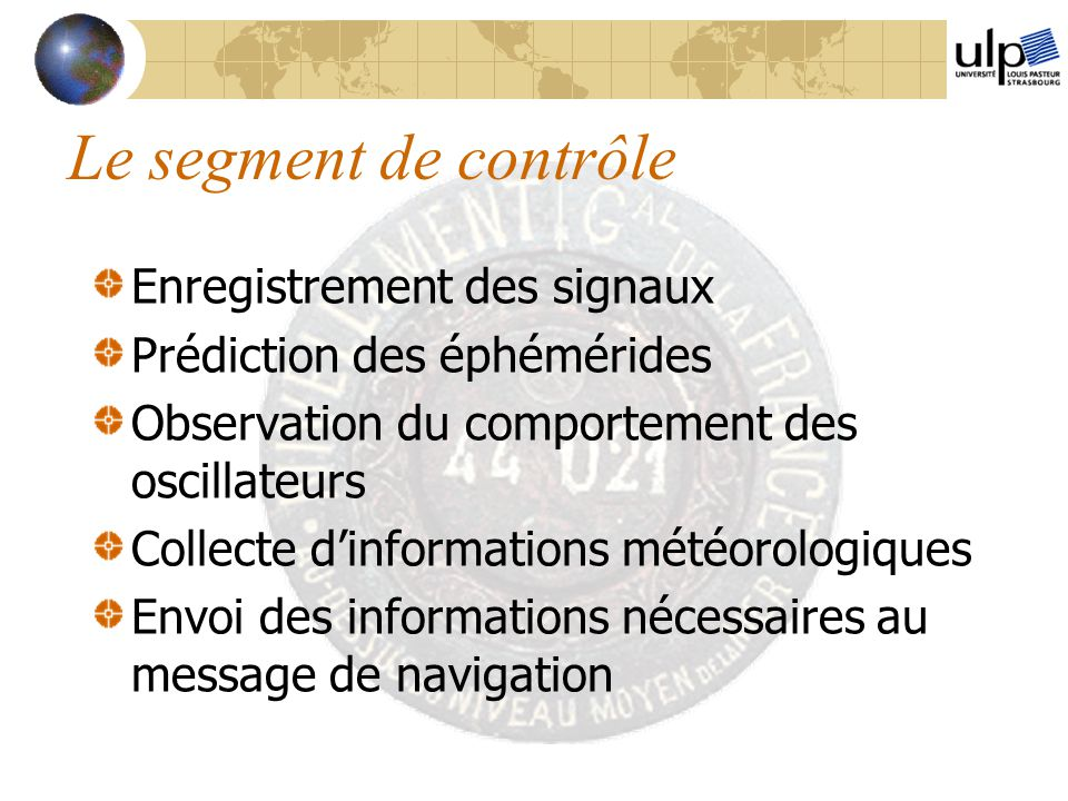 Le segment de contrôle Enregistrement des signaux