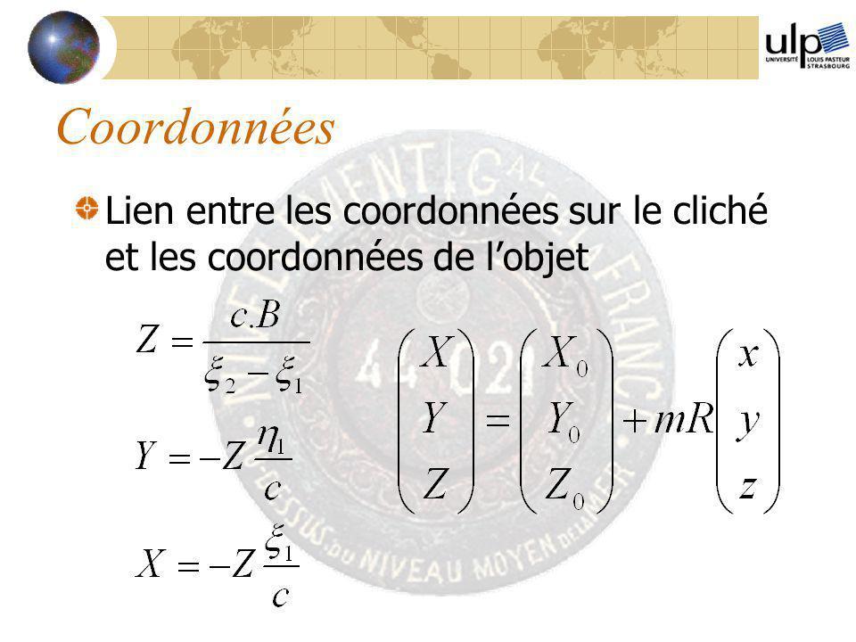Coordonnées Lien entre les coordonnées sur le cliché et les coordonnées de l'objet