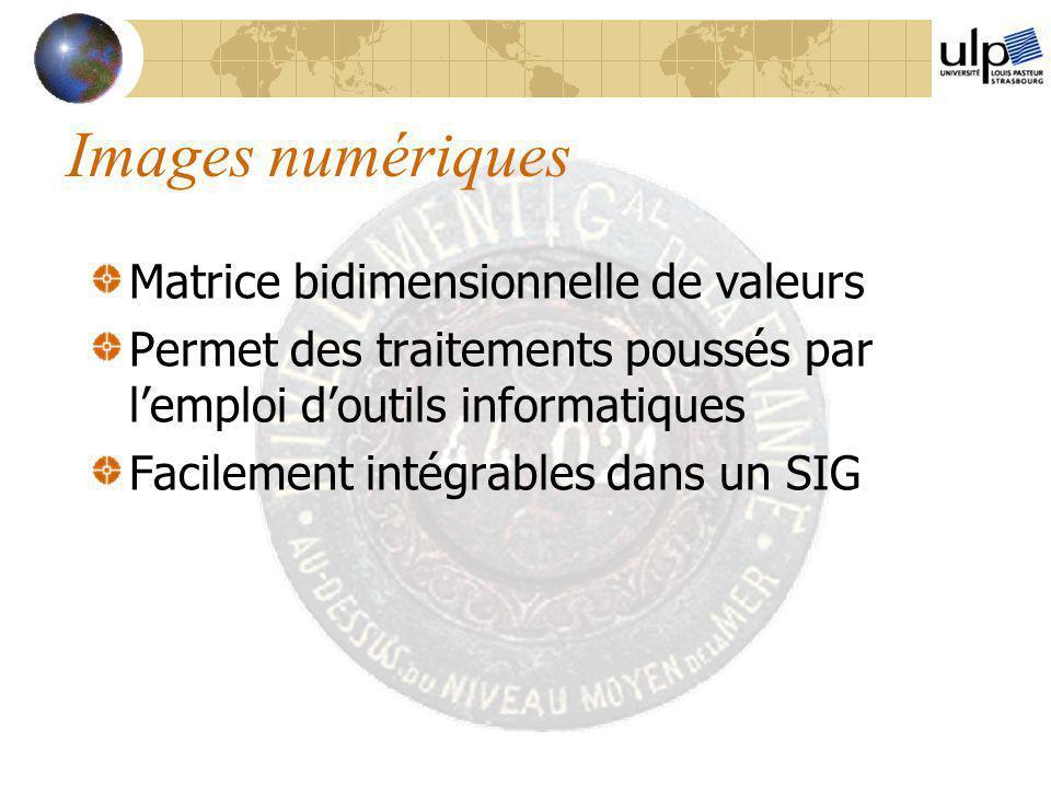 Images numériques Matrice bidimensionnelle de valeurs