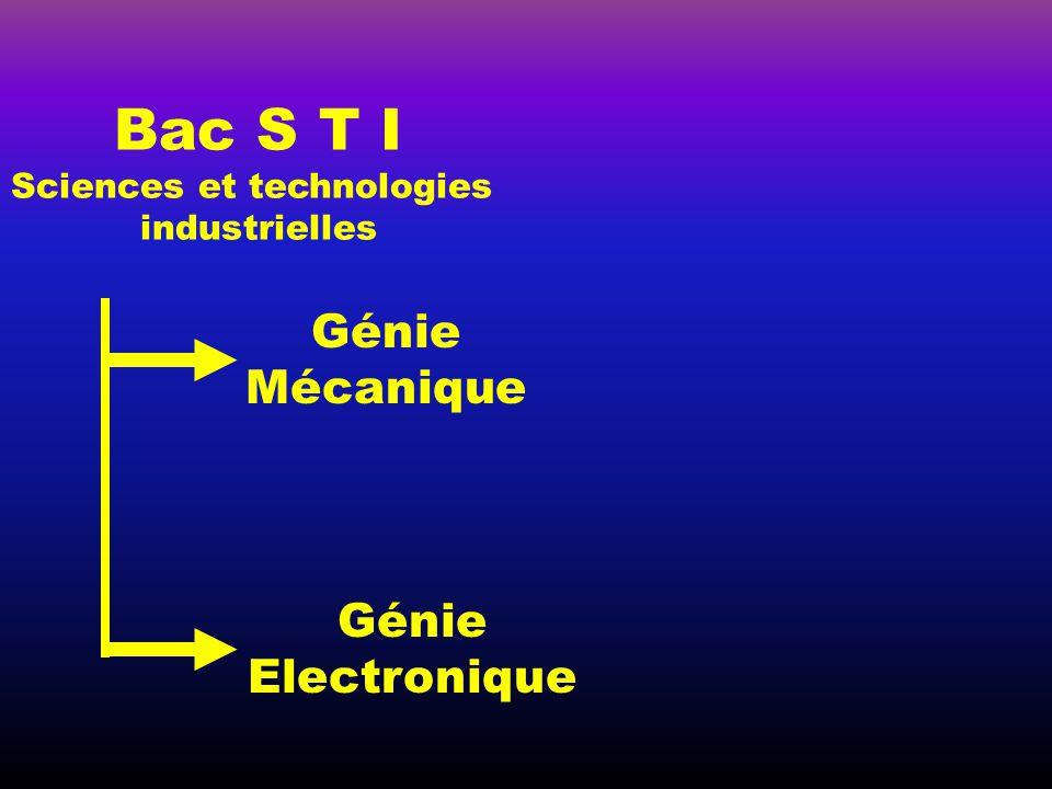 Bac S T I Génie Mécanique Génie Electronique Sciences et technologies