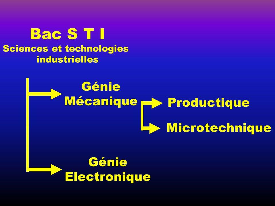Bac S T I Génie Mécanique Productique Microtechnique