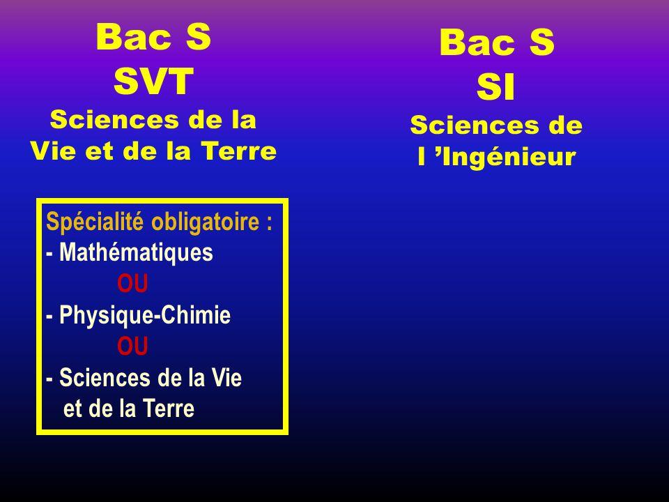 Bac S Bac S SVT SI Sciences de la Vie et de la Terre