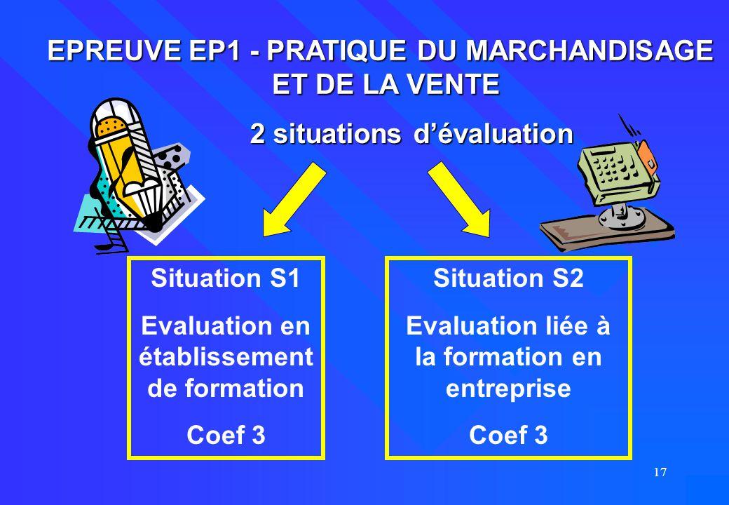 EPREUVE EP1 - PRATIQUE DU MARCHANDISAGE ET DE LA VENTE