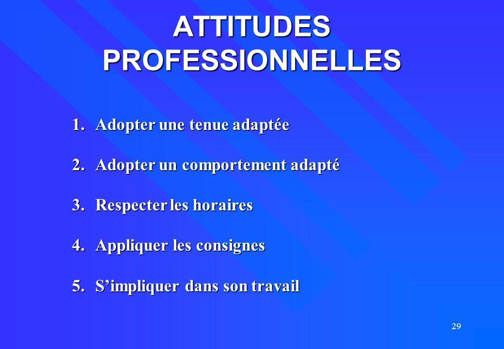 ATTITUDES PROFESSIONNELLES