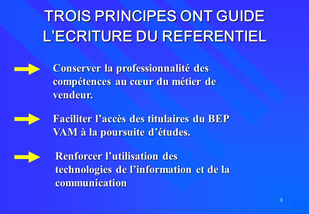 TROIS PRINCIPES ONT GUIDE L'ECRITURE DU REFERENTIEL