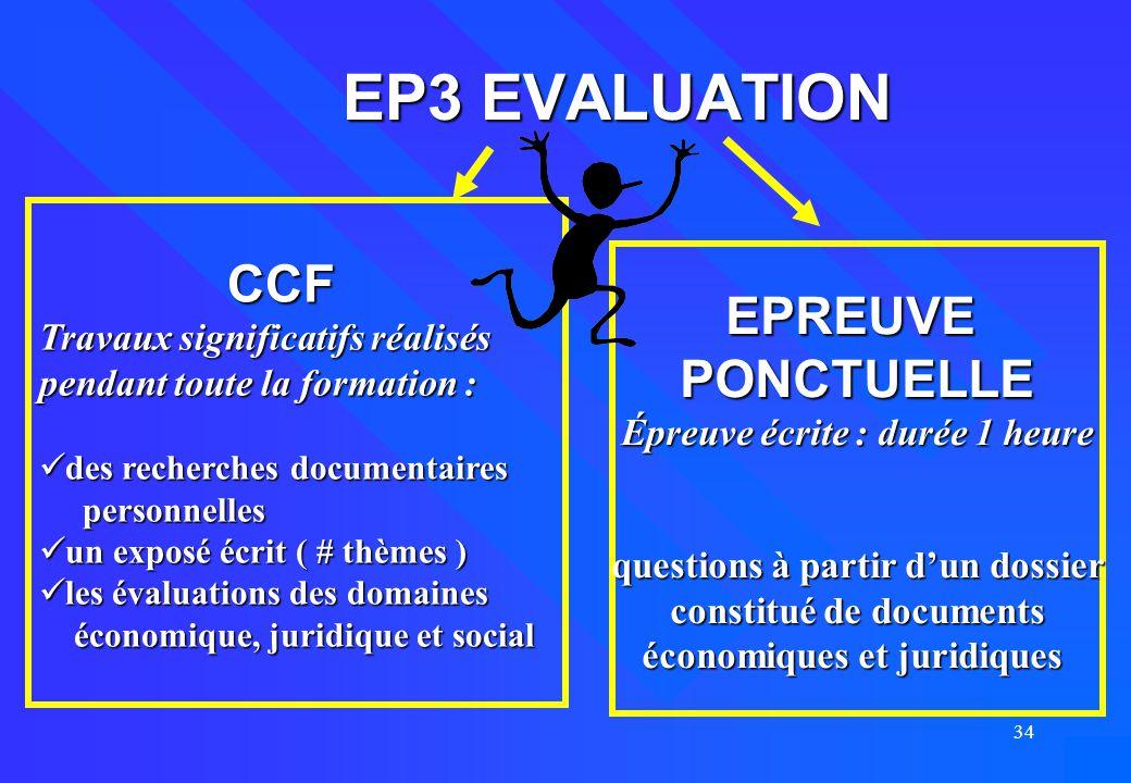 EP3 EVALUATION CCF EPREUVE PONCTUELLE Travaux significatifs réalisés