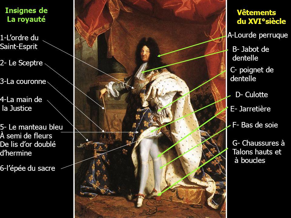 Insignes de La royauté. Vêtements. du XVI°siècle. A-Lourde perruque. 1-L'ordre du. Saint-Esprit.