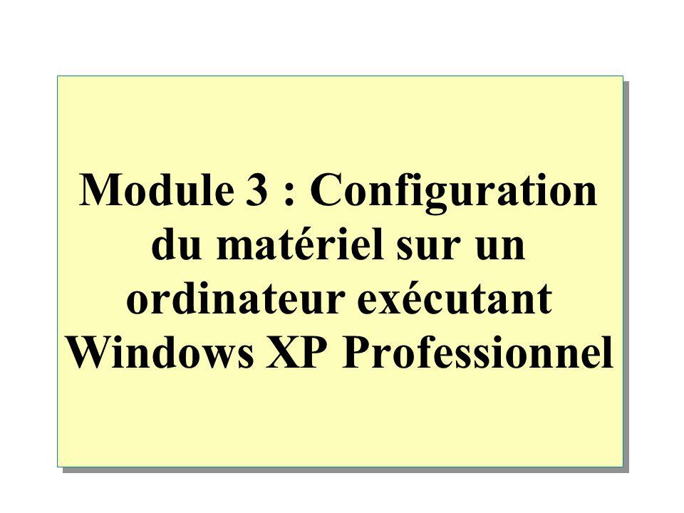 Module 3 : Configuration du matériel sur un ordinateur exécutant Windows XP Professionnel