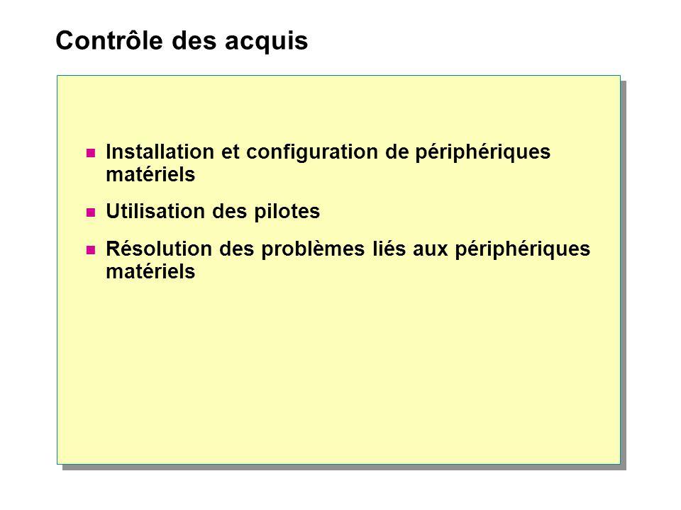Contrôle des acquis Installation et configuration de périphériques matériels. Utilisation des pilotes.