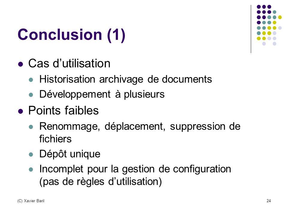 Conclusion (1) Cas d'utilisation Points faibles