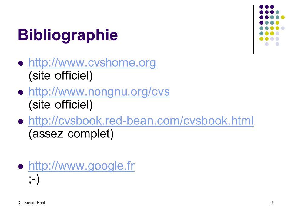 Bibliographie http://www.cvshome.org (site officiel)