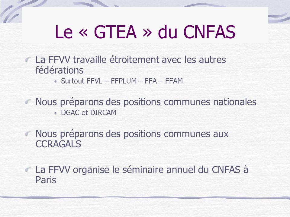 Le « GTEA » du CNFAS La FFVV travaille étroitement avec les autres fédérations. Surtout FFVL – FFPLUM – FFA – FFAM.