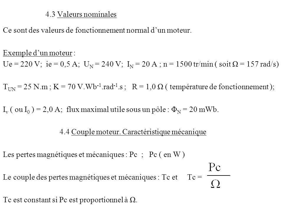 4.3 Valeurs nominales Ce sont des valeurs de fonctionnement normal d'un moteur. Exemple d'un moteur :