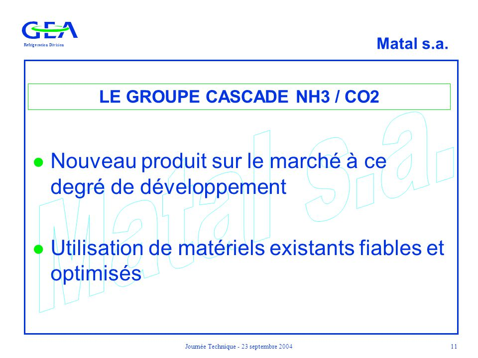 LE GROUPE CASCADE NH3 / CO2