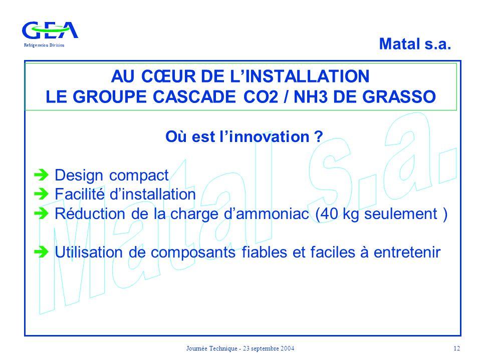 AU CŒUR DE L'INSTALLATION LE GROUPE CASCADE CO2 / NH3 DE GRASSO