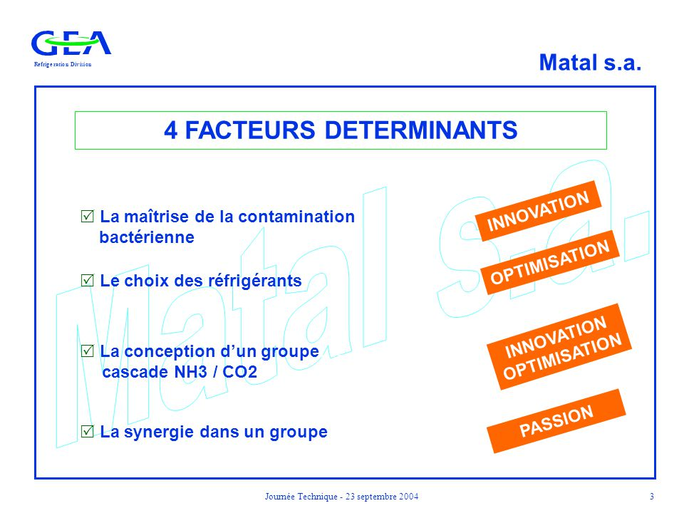 4 FACTEURS DETERMINANTS INNOVATION OPTIMISATION