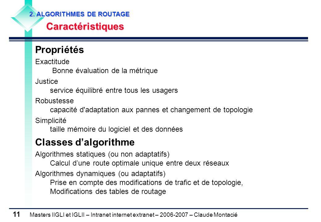Propriétés Classes d'algorithme Caractéristiques