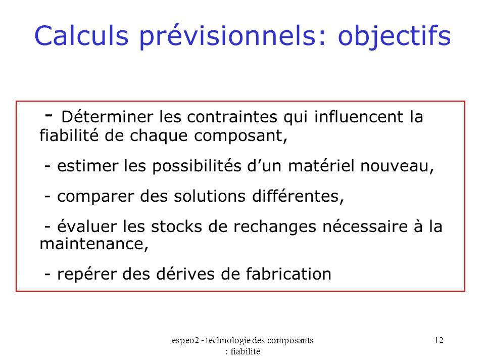 Calculs prévisionnels: objectifs