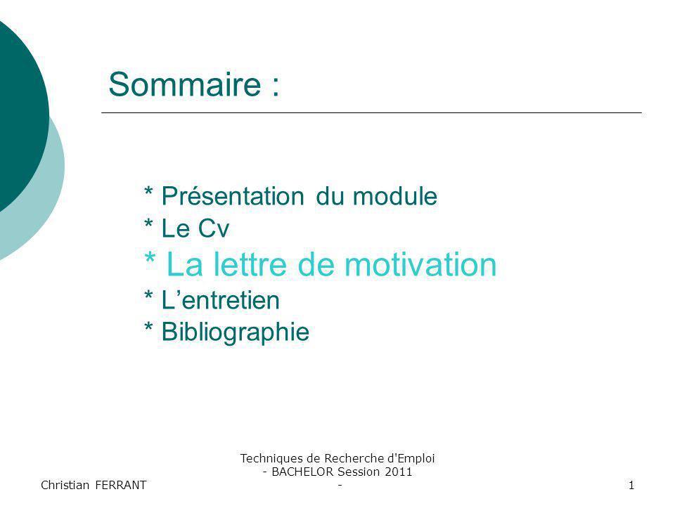 Techniques de Recherche d Emploi - BACHELOR Session 2011