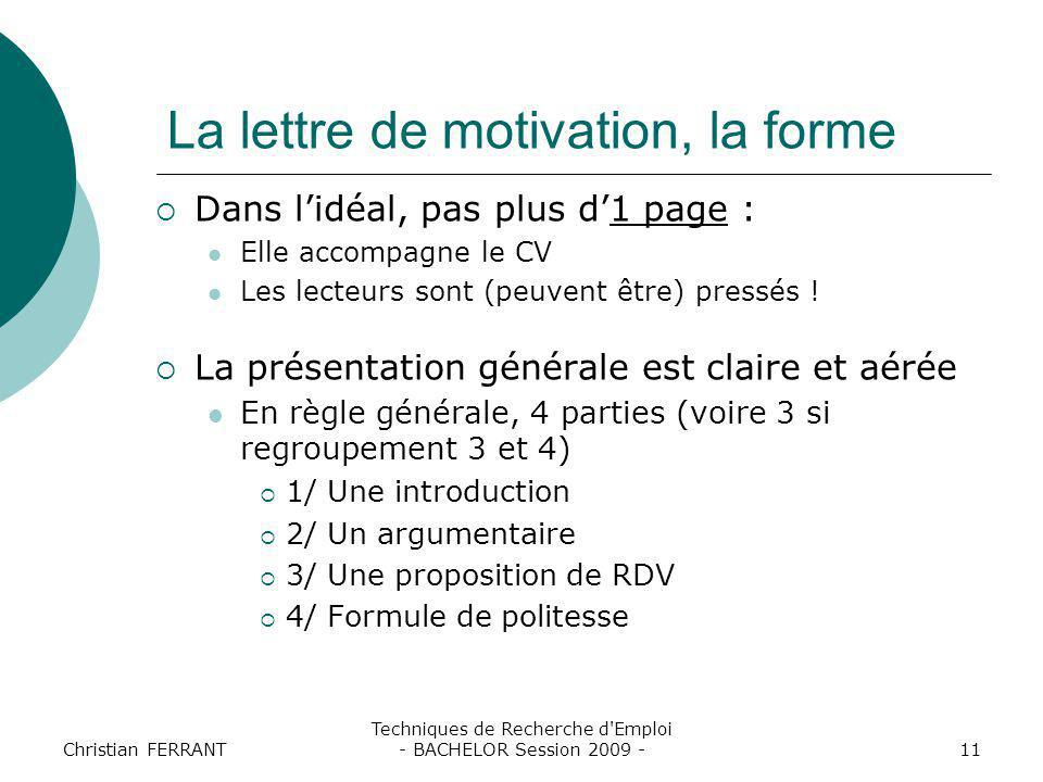 La lettre de motivation, la forme