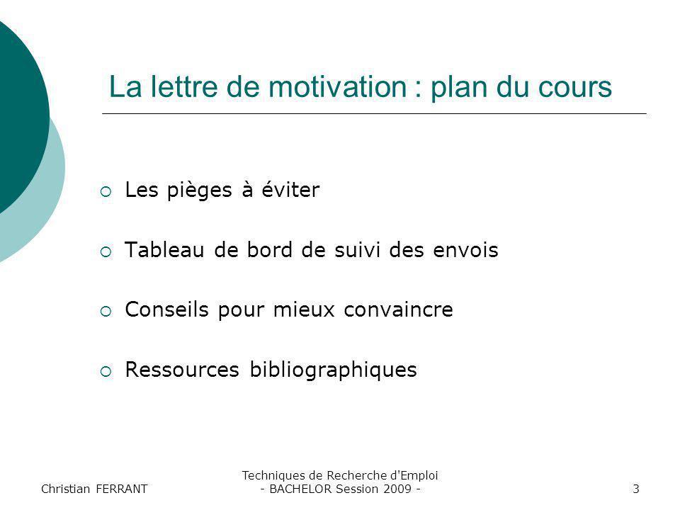 La lettre de motivation : plan du cours