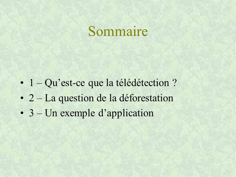 Sommaire 1 – Qu'est-ce que la télédétection