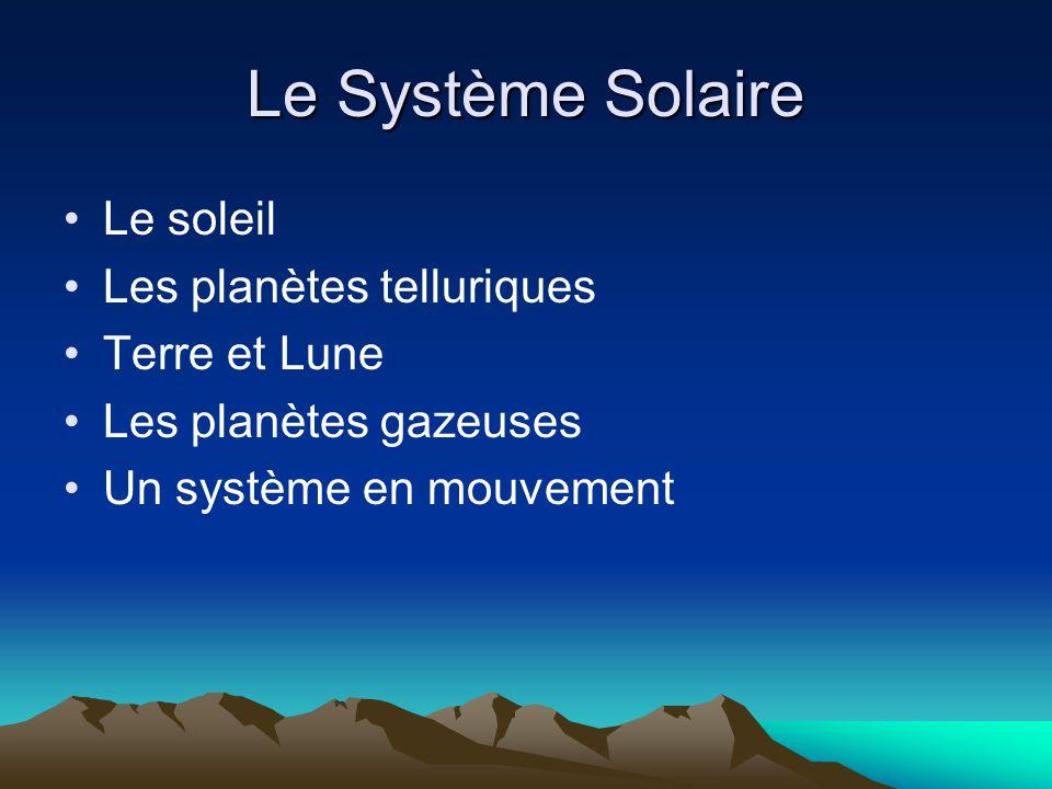 Le Système Solaire Le soleil Les planètes telluriques Terre et Lune