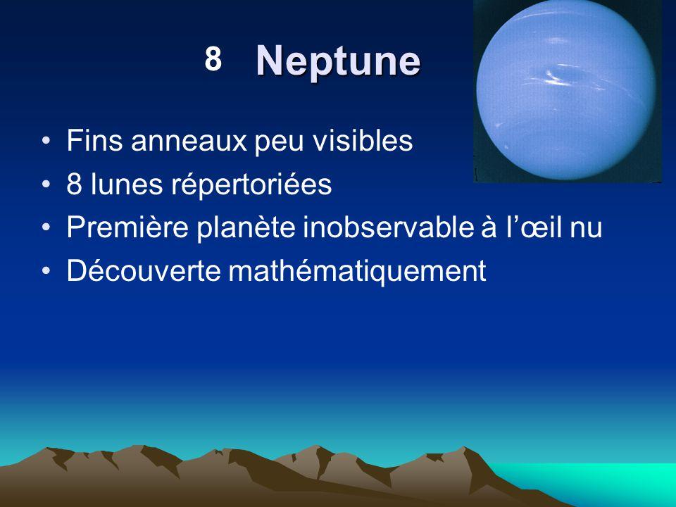 Neptune 8 Fins anneaux peu visibles 8 lunes répertoriées