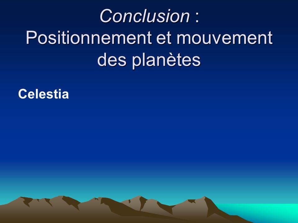 Conclusion : Positionnement et mouvement des planètes
