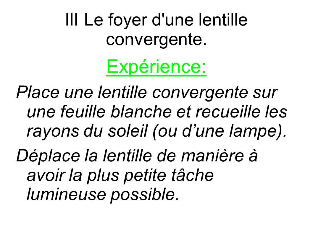 III Le foyer d une lentille convergente.