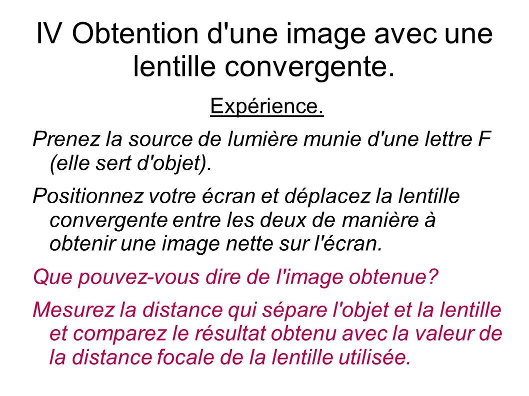 IV Obtention d une image avec une lentille convergente.