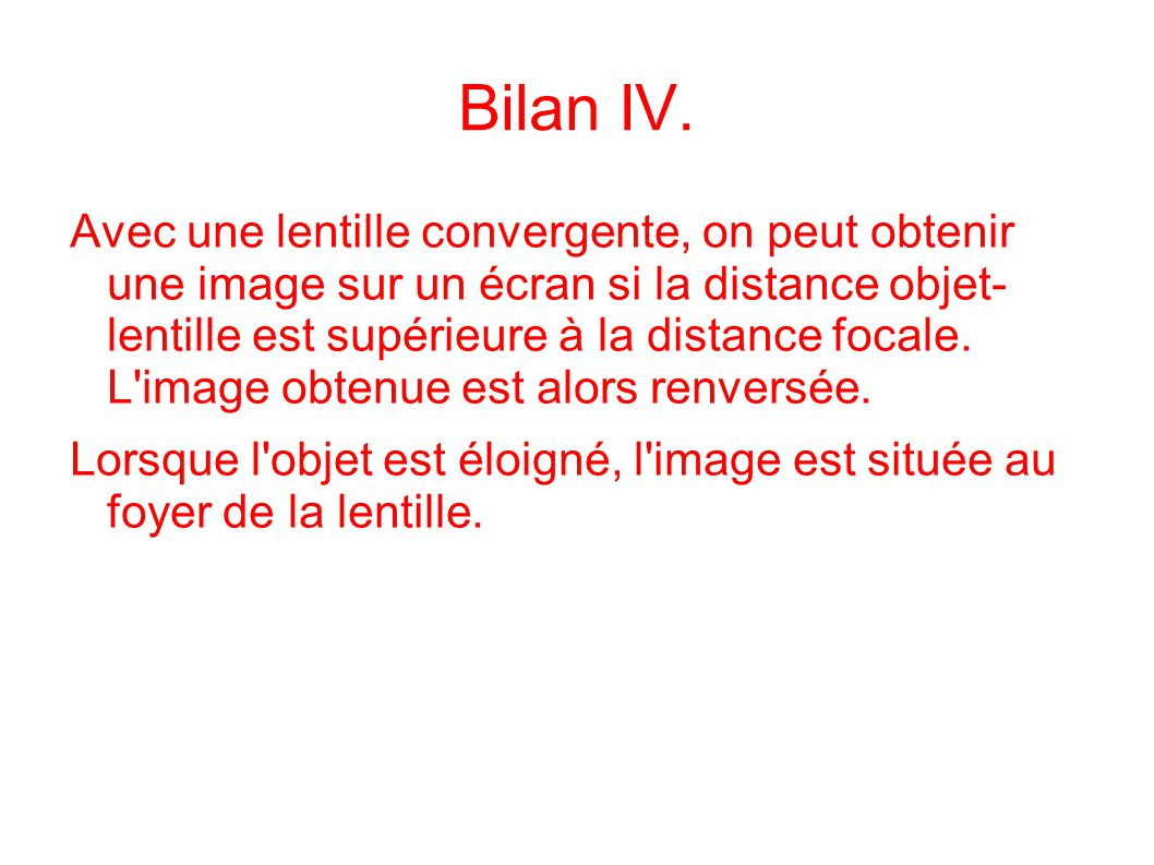 Bilan IV.