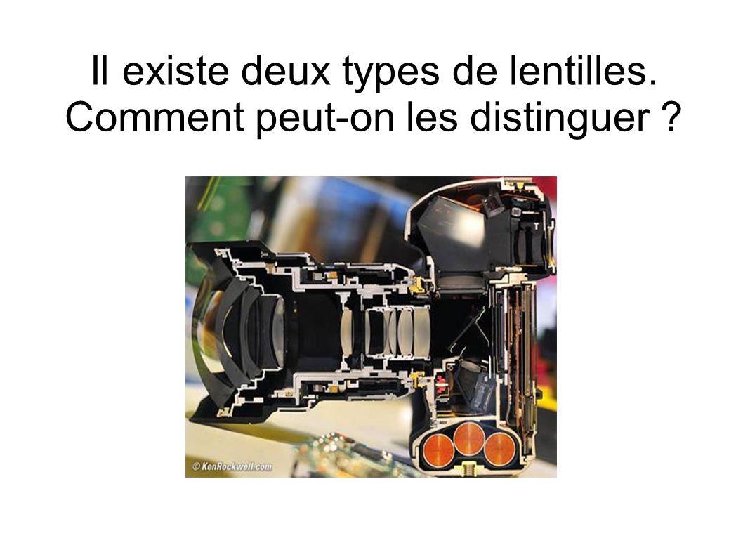 Il existe deux types de lentilles. Comment peut-on les distinguer