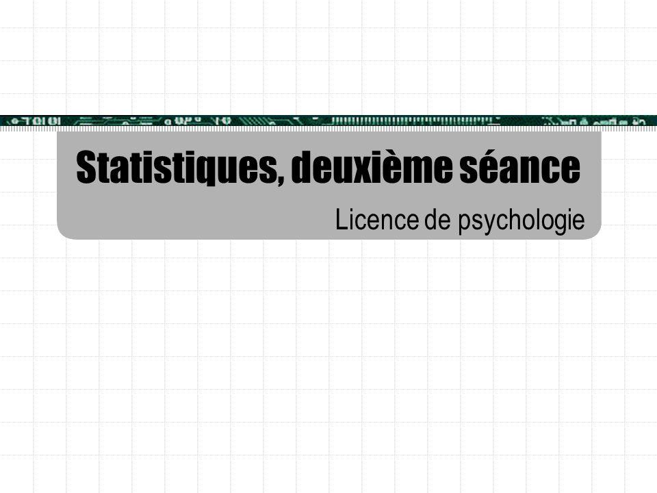 Statistiques, deuxième séance