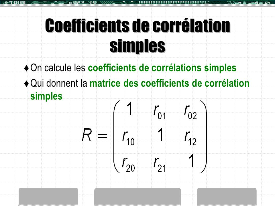 Coefficients de corrélation simples