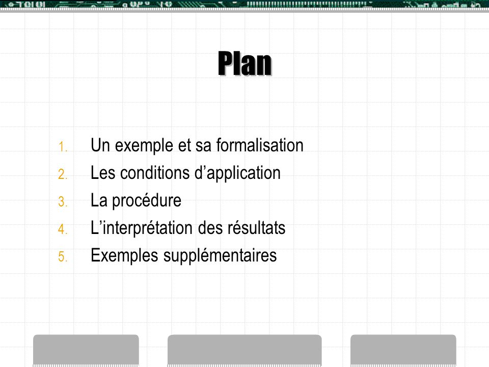 Plan Un exemple et sa formalisation Les conditions d'application