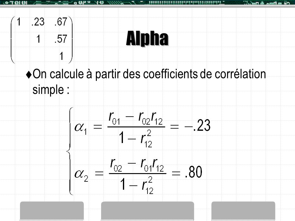 Alpha On calcule à partir des coefficients de corrélation simple :