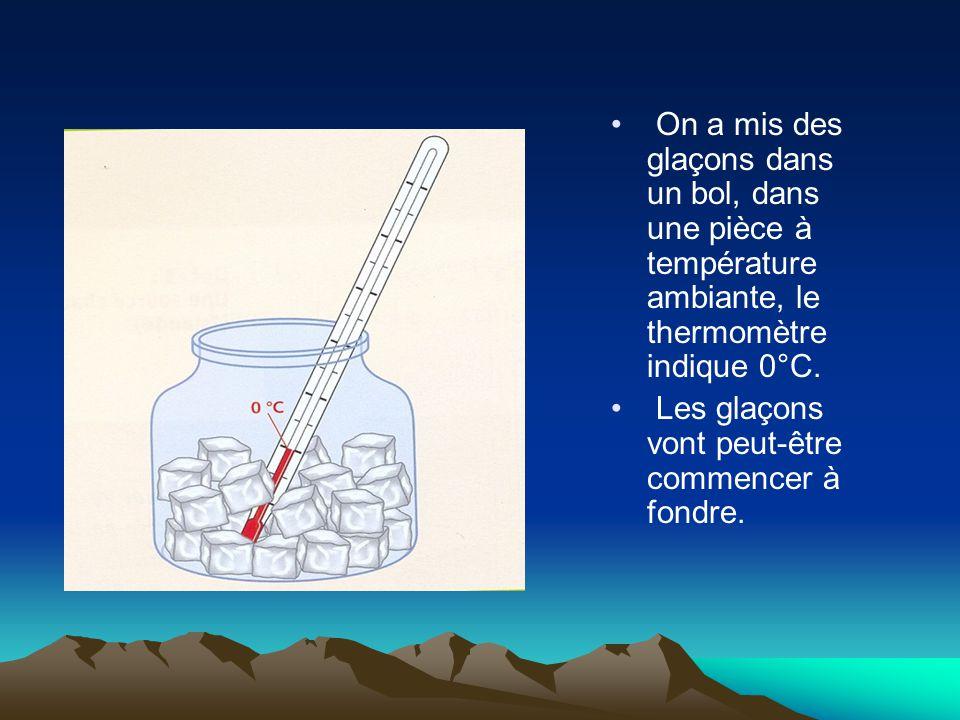 On a mis des glaçons dans un bol, dans une pièce à température ambiante, le thermomètre indique 0°C.
