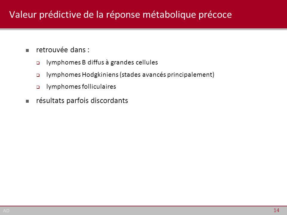Valeur prédictive de la réponse métabolique précoce