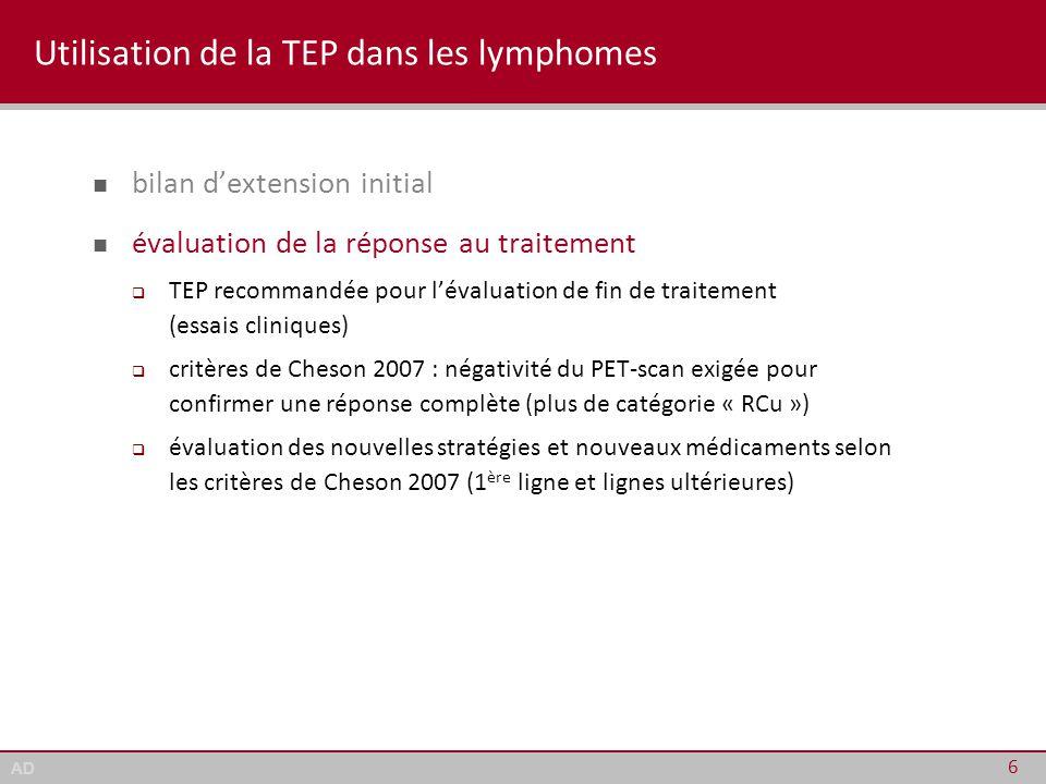 Utilisation de la TEP dans les lymphomes
