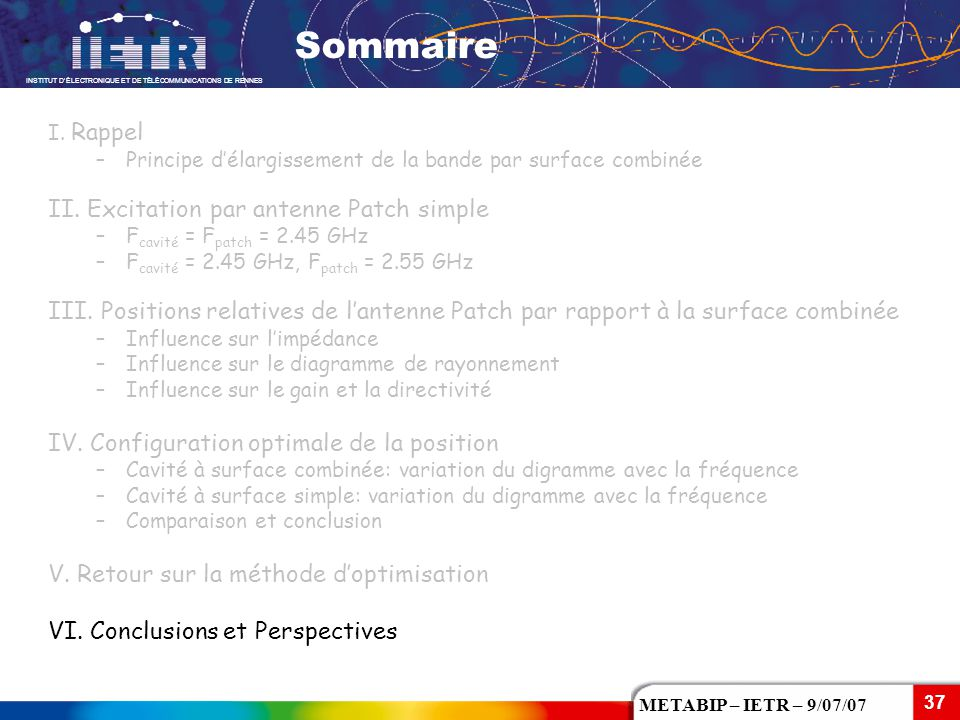 Sommaire II. Excitation par antenne Patch simple
