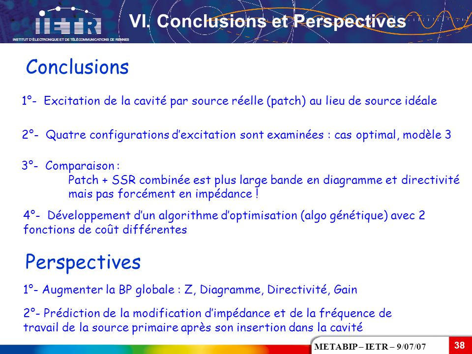 Conclusions Perspectives VI. Conclusions et Perspectives