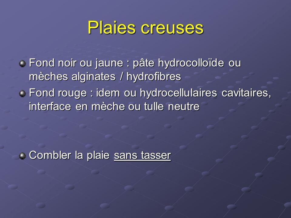 Plaies creuses Fond noir ou jaune : pâte hydrocolloïde ou mèches alginates / hydrofibres.