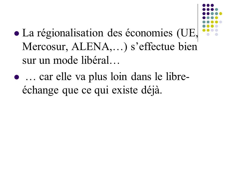 La régionalisation des économies (UE, Mercosur, ALENA,…) s'effectue bien sur un mode libéral…