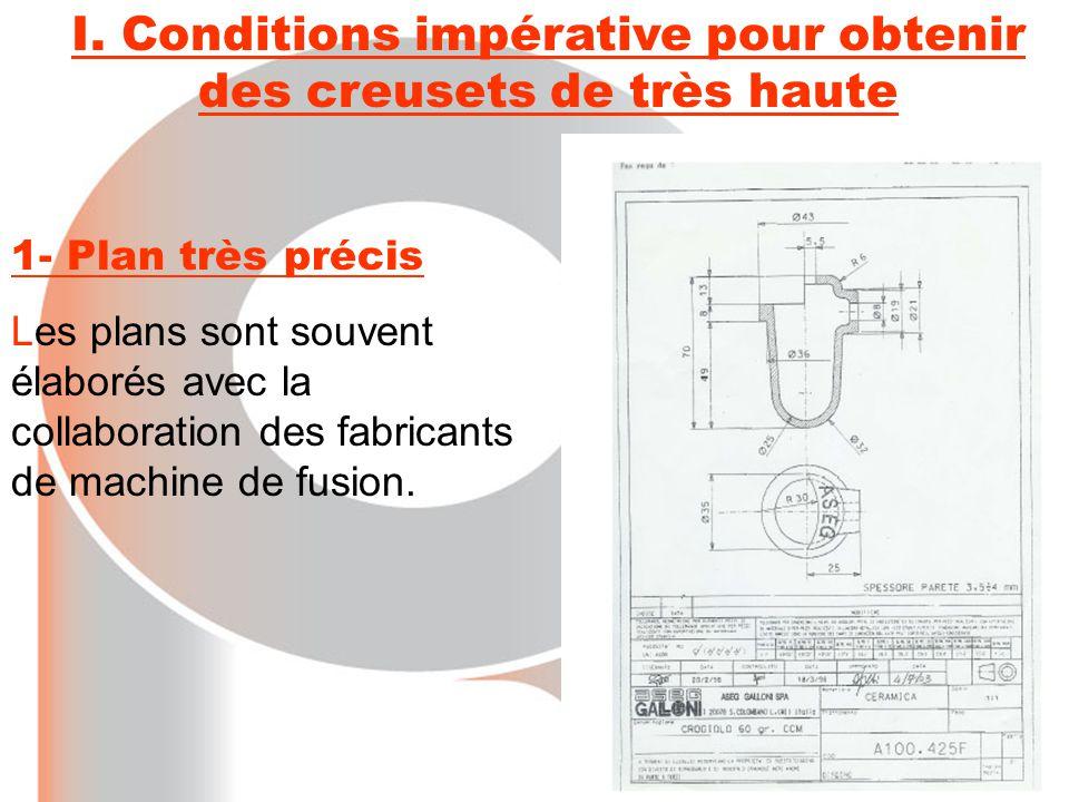 I. Conditions impérative pour obtenir des creusets de très haute